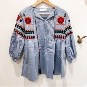 Peasant top in chambray with embroidery on sleeves
